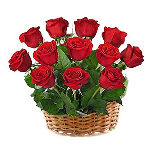 Sun-Kissed Valentine Special One Dozen Red Roses Arrangement for Close Ones