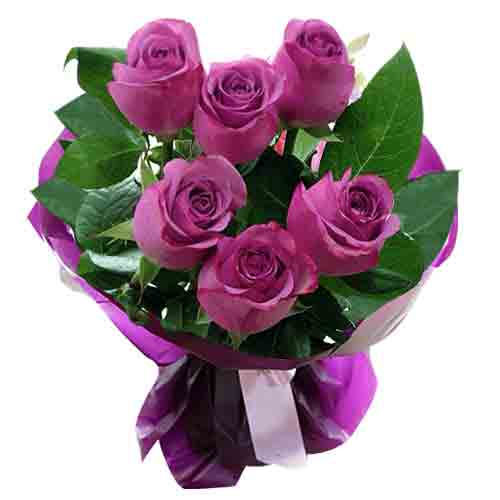 Blooming Purple Bouquet with Lovely Adoration