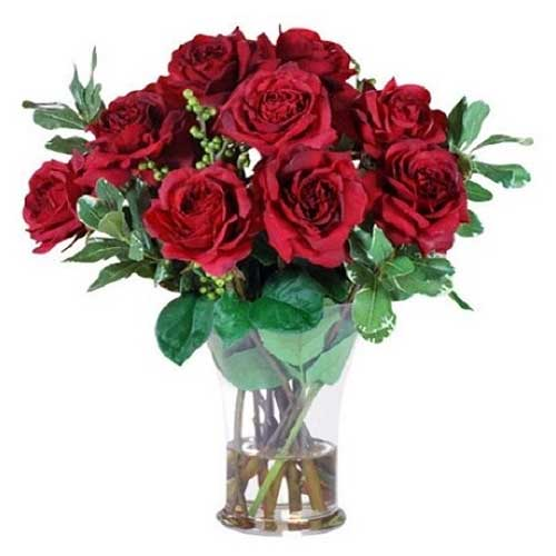 Blooming Flame of Love Red Roses Arrangement