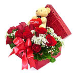 Artistic Red Roses with Teddy Bear