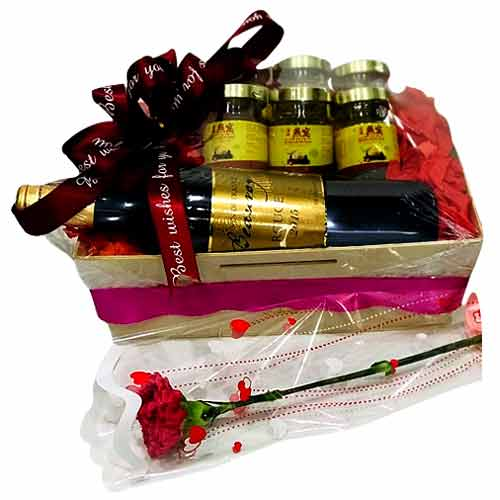 Exquisite Flowers Gift Basket with Wine