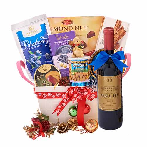 Bewitching Festive Collection Wine Treat Gift Basket<br>