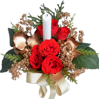 Centrepiece of 6 Fresh Roses with Xmas Ornaments and Fillers with Candle