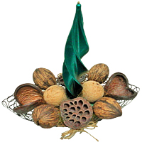 Dried Xmas Ornaments in Metal Basket