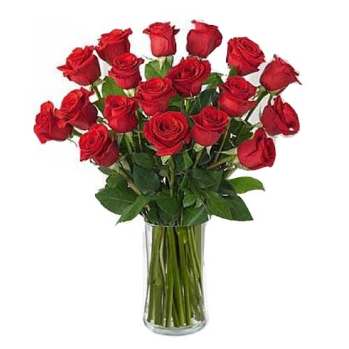 Blushing Valentine Special Eighteen Red Roses in a Vase for Special One