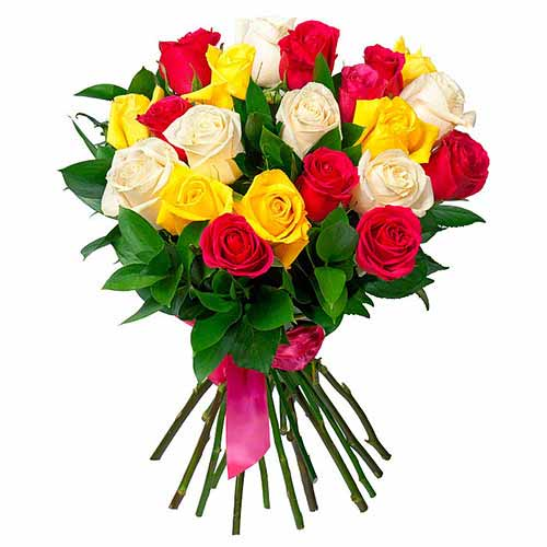 Distinctive Arrangement of 1 Dozen Mix Color Roses for Special Ones