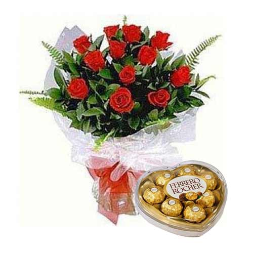 Artful Valentines Day Special Red Roses Arrangement with Ferrero Rocher
