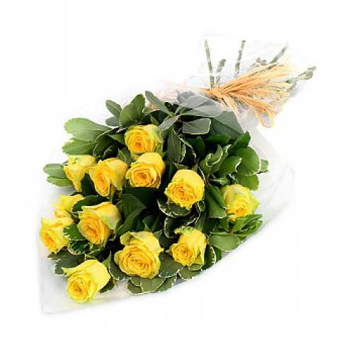 Treasured 12 Yellow Roses Arrangement on Valentines Day