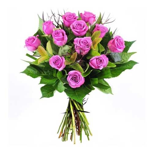 Attention-Getting Valentines Day Bunch of Twelve Purple Roses