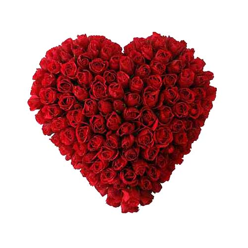 Artful 100 Heart Shaped Red Roses Arrangement on the Occasion of Valentines Day