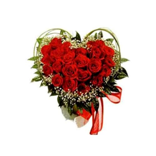 Classic Arrangement of Eighteen Heart Shaped Roses for Your Dear Ones