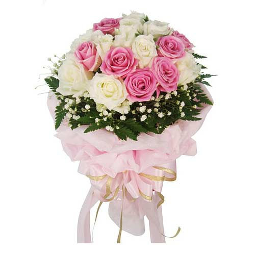 Fresh Arrangement of Eighteen Pink and White Roses on the occasion of Valentines Day