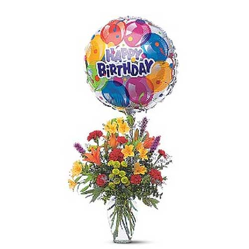 Assorted Mixed Flowers with Balloon