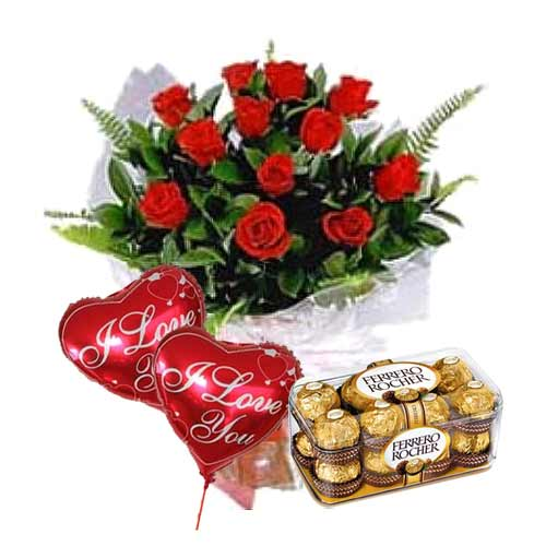 Expressive Valentines Day Bunch of Twelve Red Roses with Ferrero Rocher Chocolates and Two Balloons