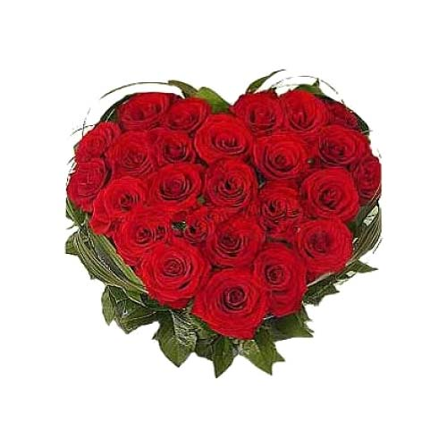Pristine Gift of 2 Dozen Roses in Heart Shaped Arrangement on Valentines Day