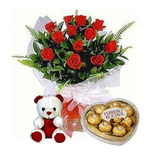 Regal Selection of Roses Teddy and Ferrero Rocher for Your Loved Ones