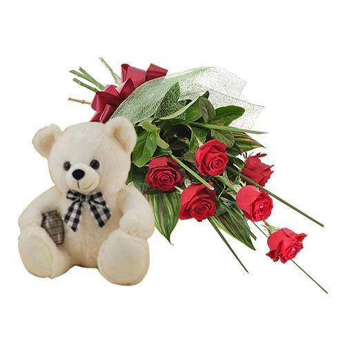 Colorful Gift of Six Red Roses with Cuddly Teddy for Special One on the Occasion of Valentines Day