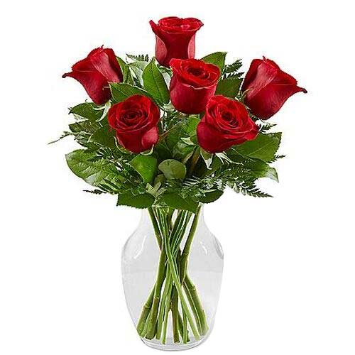 Charming Bunch of Six Red Roses in Vase on the Occasion of Valentines Day