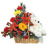 Magical Gift of Mixed Flowers Basket with 9 inch Teddy on Valentines Day