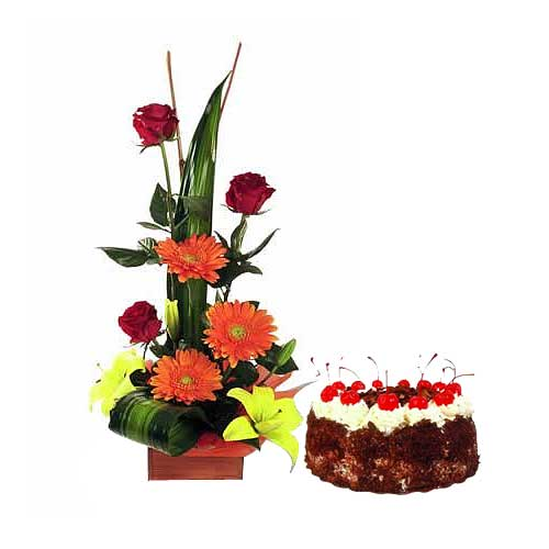 Sensational Black Forest Cake with Fresh Flowers