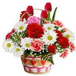 Pretty Bouquet of Seasonal Flowers on the Occasion of Valentines Day