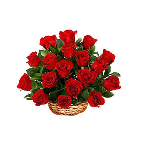 Brilliant Eighteen Red Roses Basket for Someone Special on Valentines Day