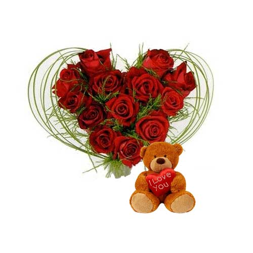 Heavenly Selection of 1 Dozen Roses in Heart Shaped Arrangement with Sweet Teddy on Valentine
