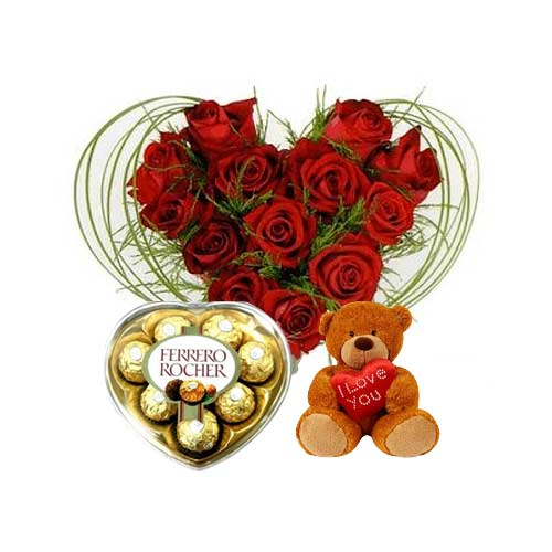 Stunning Gift of Roses with Teddy and Ferrero Rocher on Valentines Day