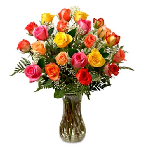 Magnificent Collection of Twenty Four Mixed Roses in Vase for Special One