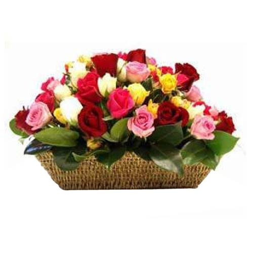Artful collection of Twenty Four Mixed Roses Basket for Valentines Day