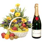 Amazing Hamper of Fruit, Flowers and Champagne