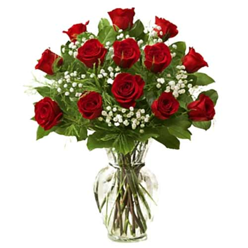 Ever-Blooming Bunch of Twelve Red Roses in a Vase for Valentines Day