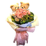 Best Wishes with 6 Pink Roses with 2 Teddy