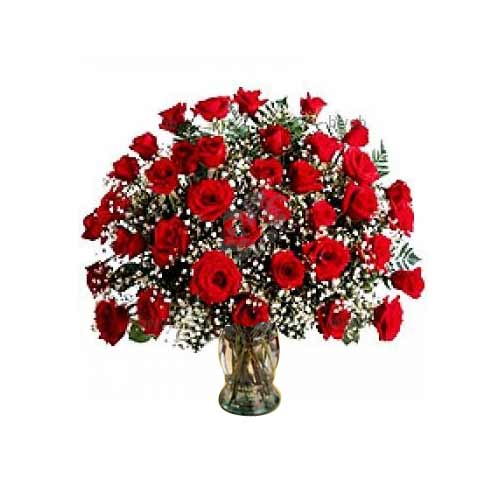 Eye-Catching Bouquet of Thirty Six Red Roses in a Vase on the Occasion of Valentine